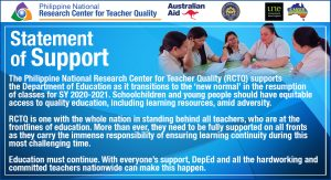 RCTQ expresses support for DepEd & teachers on resumption of classes